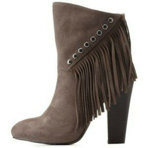 Charlotte Russe Taupe Fringe Ankle Boots Size 8